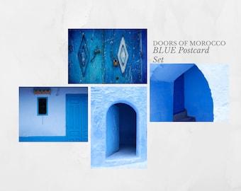 Blue Doors of Morocco 4 Fine Art Postcard Set, Blank cards with envelopes, Send them, Frame them.