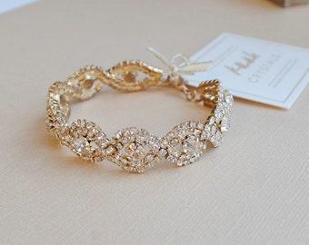 Gold or Silver Crystal Wedding Bracelet, Luxe Bridal Bangle Bracelet