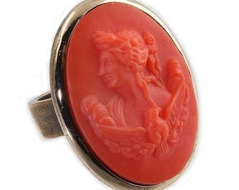 Extasia Cameo Ring Coral German Glass Bronze