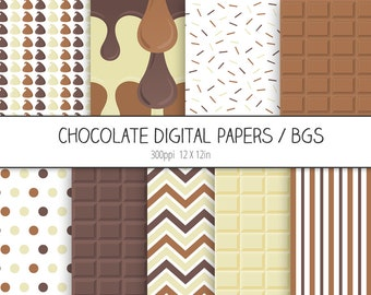 Chocolate Digital Paper Pack / Backgrounds - Milk chocolate, Dark chocolate, Sprinkles - Scrapbooking, Digital Wallpaper - INSTANT DOWNLOAD