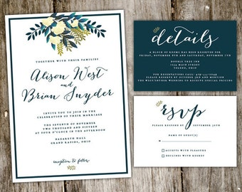 Rustic Floral Wedding Invitation Suite Digital Download