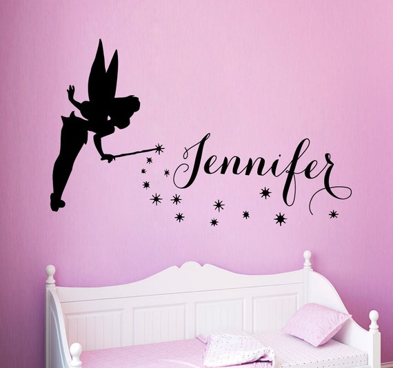 Fairy Girl Wall Decals Tinkerbell Girl Personalized Name Vinyl