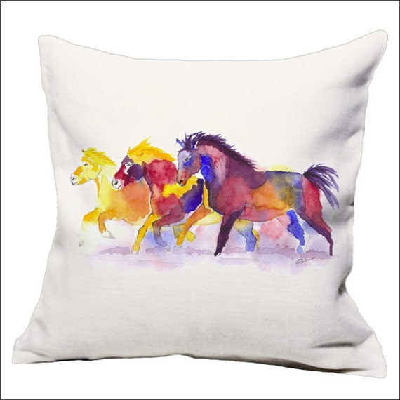 Horse watercolor throw pillow is a colourful modern contemporary  printed horse cushion /pillow from an original watercolour painting.