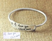 Personalized signature Bracelet, Hammered Bangle, Hand writing bracelet, Personalized Bracelet, Custom Engraved bracelet, Valentines's gift