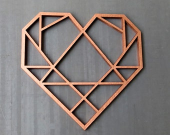 Herz (heart) - 3D Origami - wooden motive