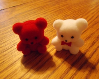 Red & White Miniature Teddy Bear set of 2, Dollhouse