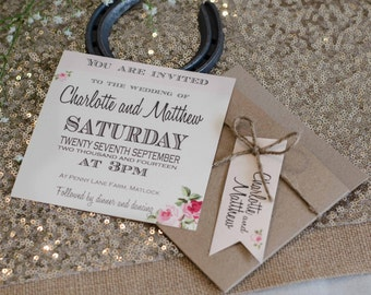 Vintage/Rustic Pocket wedding invitation with twine and tag - Charlotte range