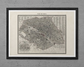 ANTIQUE PARIS MAP - Antique Map Print - Professional Reproduction - Vintage Map Wall Art Map of Paris France Travel Art Print Old Paris Map