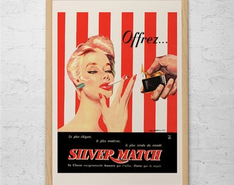 RETRO FRENCH SMOKING Poster - Vintage Cigarette Lighter Ad - Retro Pin-Up Girl Poster Art - Vintage French Ad Red Retro Wall Art