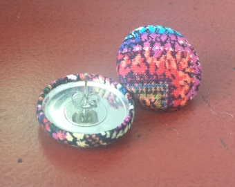 Multicolor Fabric Button Earrings
