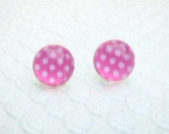 Pink and White Polka Dot Stud Earrings