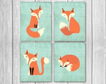 75% OFF SALE Fox Nursery Decor (Set of Four 8x10s) - Woodland Nursery, Fox Nursery Art, Nursery Decor, Nursery Wall Decor, Woodland Creature