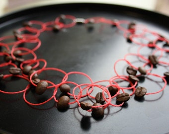 red coffee necklace