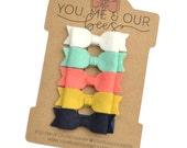Mini Felt Hair Bow Clip Set; White, Aqua, Coral, Yellow, & Navy Felt Bow Clips; Mini Felt Hair Bows; Felt Hair Bows; Spring Hair Bow Set