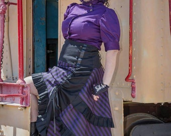 Victorian Moulin Rouge Striped Tier Skirt