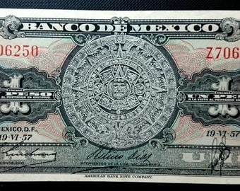 Vintage 1957 Antique Higher Grade Banco De Mexico Aztec Calendar Uno Un 1 Peso Classy Note Mexico Banknote Currency 1.00 Shipping