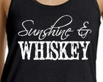 Sunshine and Whiskey Flowy Tank. Country Tank Top. Racerback Tank. Country Concert Tank. Summer Tank. Bella flowy tank top. Sizes S-XXL.