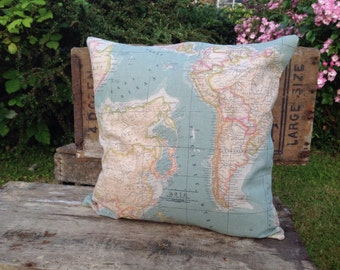 Vintage World Map Cushion Cover