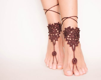 Brown crochet barefoot sandals/Wedding barefoot sandals/Beach bride shoes/Bohemian wedding/Boho accessories/Boho chic/Music festival/Hippie