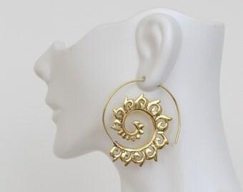 Tribal brass Spiral Earrings, Brass hoops, Spiral Earrings, Ethnic earrings; Gypsy earrings, Tribal Gold Earrings