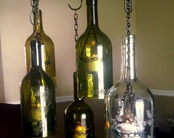 Hanging Wine Bottle Lantern with Etched  Designs, Patio Light, Outdoor Lamp, Hurricane Lantern, Wine Bottle Light. Great housewarming gift.