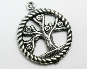 11 Tree of Life Charms, Antique Silver Plated, 20mm  Made in USA, #TB135S