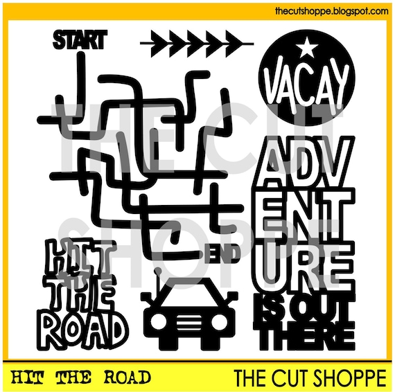 The Hit the Road cut file set consists of 6 travel themed Icons, that can be used for your scrapbooking and papercrafting projects.