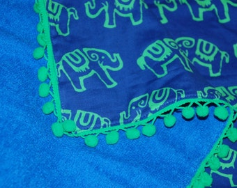 Beach Sarong- Blue & Green Beach towel with Elephants-Beach Towel for kids- Blanket-Towel- Beach Towel- Sarong
