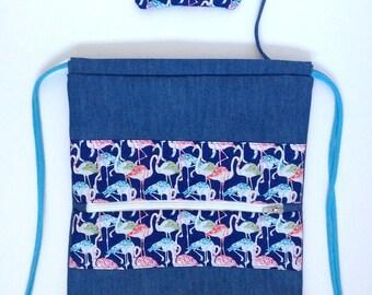 Flamingos - blue backpack
