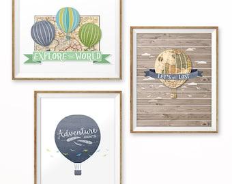 "Hot air balloon nursery art, Instant Download, 8x10 & 11x14"", Set of 3, Adventure awaits print, Aviation nursery, Hot air balloon print"