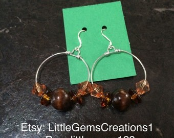 Wooden bead hoops earrings New Hand made fashion jewelry