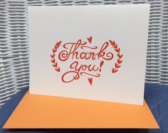 Letterpress Thank You Card- Orange