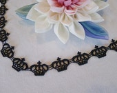 6.5 Feet Embroidered Trim Black Crowns from Japan, used for Gothic Lolita dresses