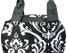 Damask Print Monogrammed Lunch Box Black and White