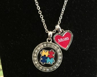 Autism Mom Necklace, Autism Grandma Necklace, Autism Daughter Necklace