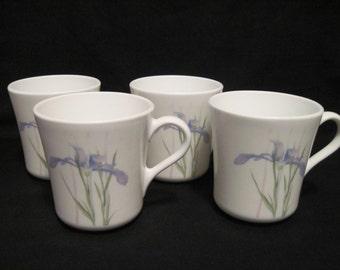 4 Vintage 1986 Corelle by Corning Shadow Iris Coffee Mugs..Beautiful!!!