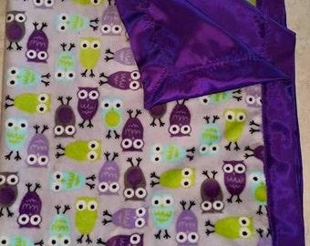 Owl Theme Minky and Satin Self Binding Baby Blanket