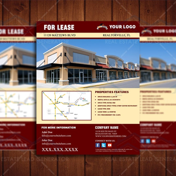 for lease commercial real estate flyer retail space listing flyer template realty marketing. Black Bedroom Furniture Sets. Home Design Ideas