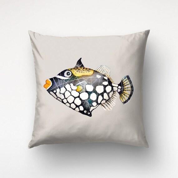 Triggerfish Art, Illustration Throw Pillow, Black Fish Cover, Beach Decor