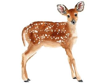Watercolor Baby Deer- art print woodland fawn nursery art baby deer watercolor art animal art animal watercolor wall art brown white grey