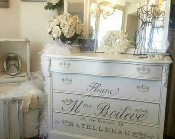 Unavailable***French Country Vanity Dresser Script Black and White Romantic Glam Beauty Southern California