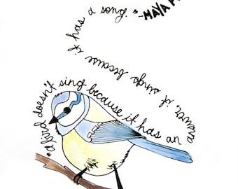 Maya Angelou Quote | Bird Print | Hand Drawn | Bird Wall Art