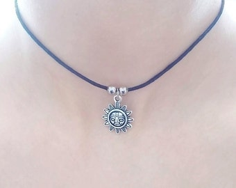 sun choker necklace grunge jewellery gift for her black cord necklace black choker for women sun cord choker