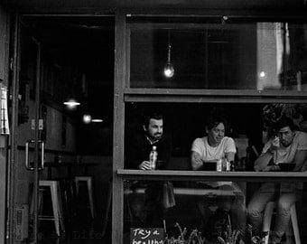 cafe photo - black and white print - urban photography - street photography - coffee photography - people photography - coffee kitchen decor