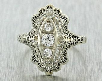 1920s Antique Art Deco Filigree 18k White Gold .33ct Diamond Engagement Ring
