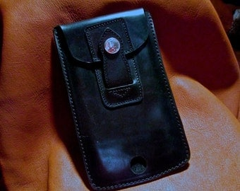Custom Black Leather Cell case for iPnone Plus or Galaxy Note in a Hard Case.