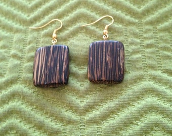 Square wooden print earrings