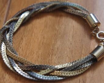 Vintage Jewelry  Bracelet Set , Metal ,Silver, Gold, Braided ,Braid ,Wide, Narrow F-020