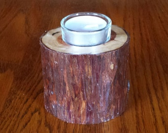 Redwood Tealight Candle Holder 3 Inch Tall