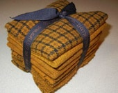 """PRIMITIVE GATHERINGS: """"Mustard"""" Textured Bundle - 100% Wool Hand Dyed - Eight Wool Pieces Approximately 7"""" x 8"""""""